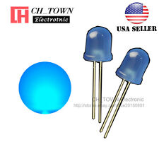 50pcs Led 10mm Blue Color Blue Light Diffused Round Top Light Emitting Diode Usa