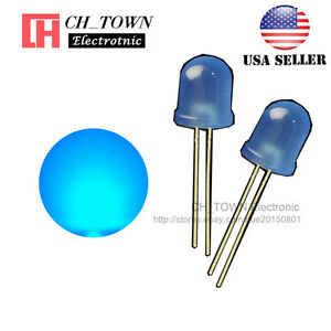 50pcs-LED-10mm-Blue-Color-Blue-Light-Diffused-Round-Top-Light-Emitting-Diode-USA