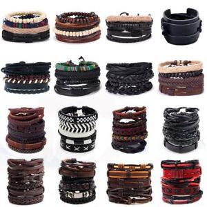 Retro-Men-Multi-layer-Braided-Leather-Bracelet-Set-Braided-Bangle-Wristband-Gift