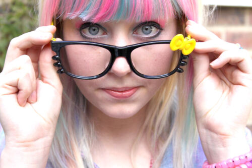 No Lens Kitty  Bow Geek Glasses Black Yellow Goth  Kawaii Emo Punk Cute-