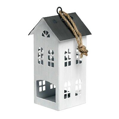 dotcomgiftshop AMSTERDAM WHITE TALL HOUSE HANGING TEA LIGHT CANDLE HOLDER