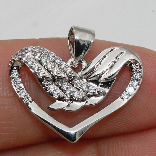 18k White Gold Filled Zircon Heart Multilayer Hollow Wedding Lady Pendant