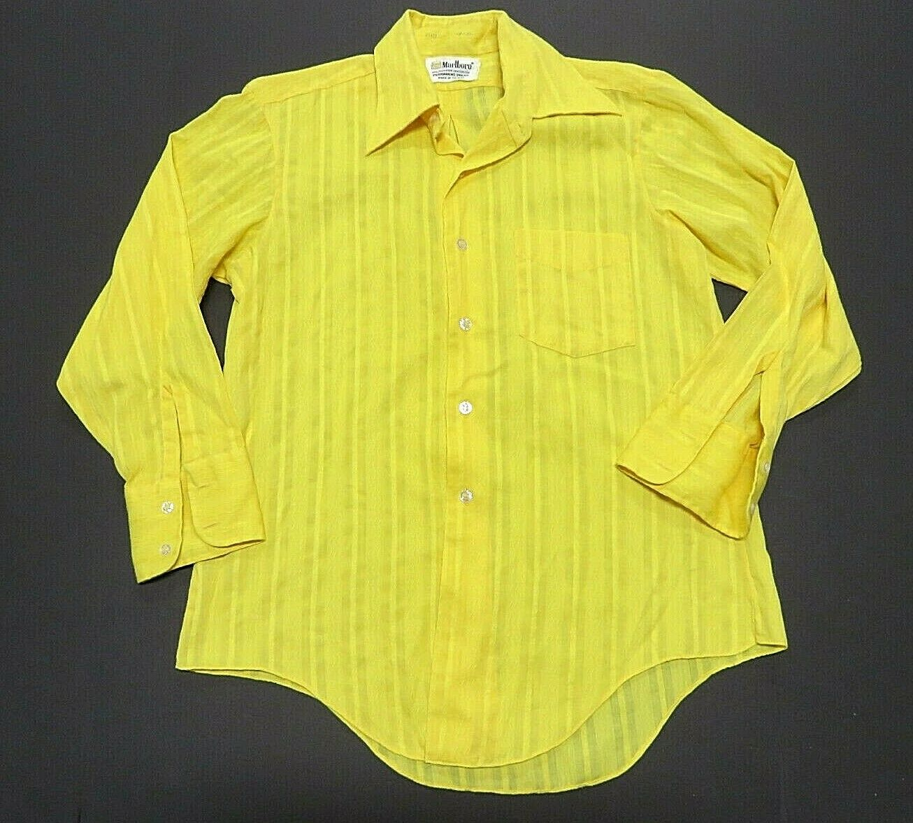 Marlbgold Yellow Button Up Long Sleeve Shirt Men's Size 15-32 Made in Taiwan