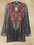 thumbnail 1 - PLUS ANDREE BY UNIT EMBROIDERED LONG SLEEVE  GREY VELVET BOHO TUNIC TOP 1X 2X 3X
