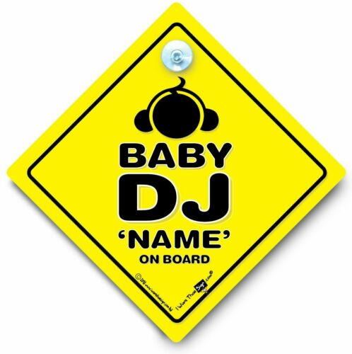 Baby DJ On Board Sign Baby DJ Car Sign PERSONALISED Baby On Board Sign