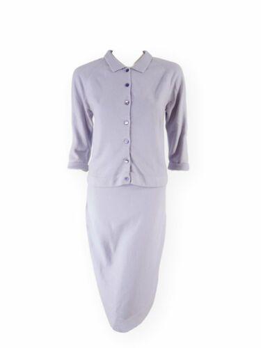 Vintage 50s Lavender Knit Sweater & Skirt Set - sm