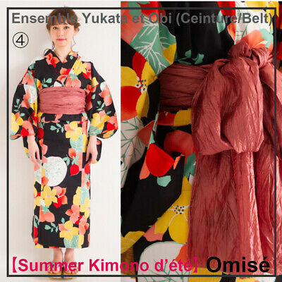 Ensemble japanese Yukata & Obi (ceinture/belt)! One Size 152~168cm Made In Japan