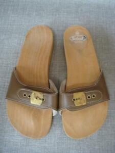 Details About Scholl Uk 5 Brown Leather Wooden Sole Mules Flip Flops