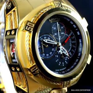 Invicta-Reserve-Bolt-Zeus-Tria-3-Swiss-Dials-Gold-Plated-56mm-Black-Watch-New