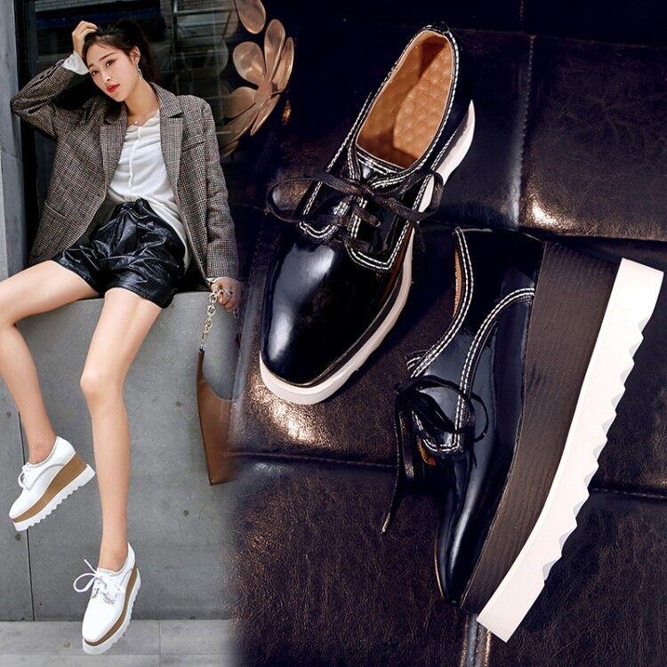 Vogue Para Mujer Oxford Con Cordones Plataforma Plataforma Plataforma de costura de patente Tribunal Zapatos creapers Sea19  los clientes primero