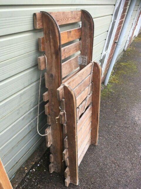 VTG c50/60s 2x BESPOKE TIMBER SNOW SLEDs Sledge Toboggan sled wood wooden
