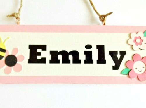 Details about  /Pink Flower Name Plaque Bedroom Door Sign Home Decor Personalised Gift For Kids