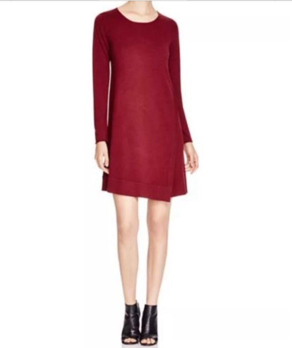 Eileen Fisher Passion Flower Merino Wool Jewel Neck Sweater Dress Größe M