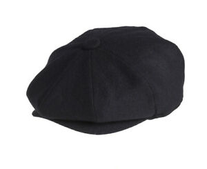 c2021bf8 Image is loading Melton-Lightweight-Wool-Black-Newsboy-Cap-Summer-Weight