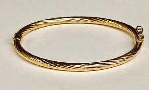 14kt-Yellow-Gold-Twisted-Fluted-Hinged-Children-039-s-Bangle-Bracelet-5-5-034-3-grams