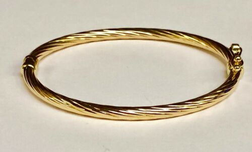 14kt Yellow Gold Twisted Fluted Hinged Children's Bangle/Bracelet 5.5 3 grams