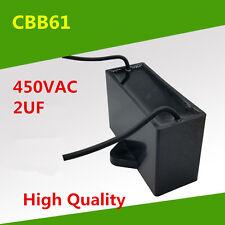 AC 450V 2 uF CBB61 Fan Motor Running Rectangle Capacitor 50/60Hz Lead Wire
