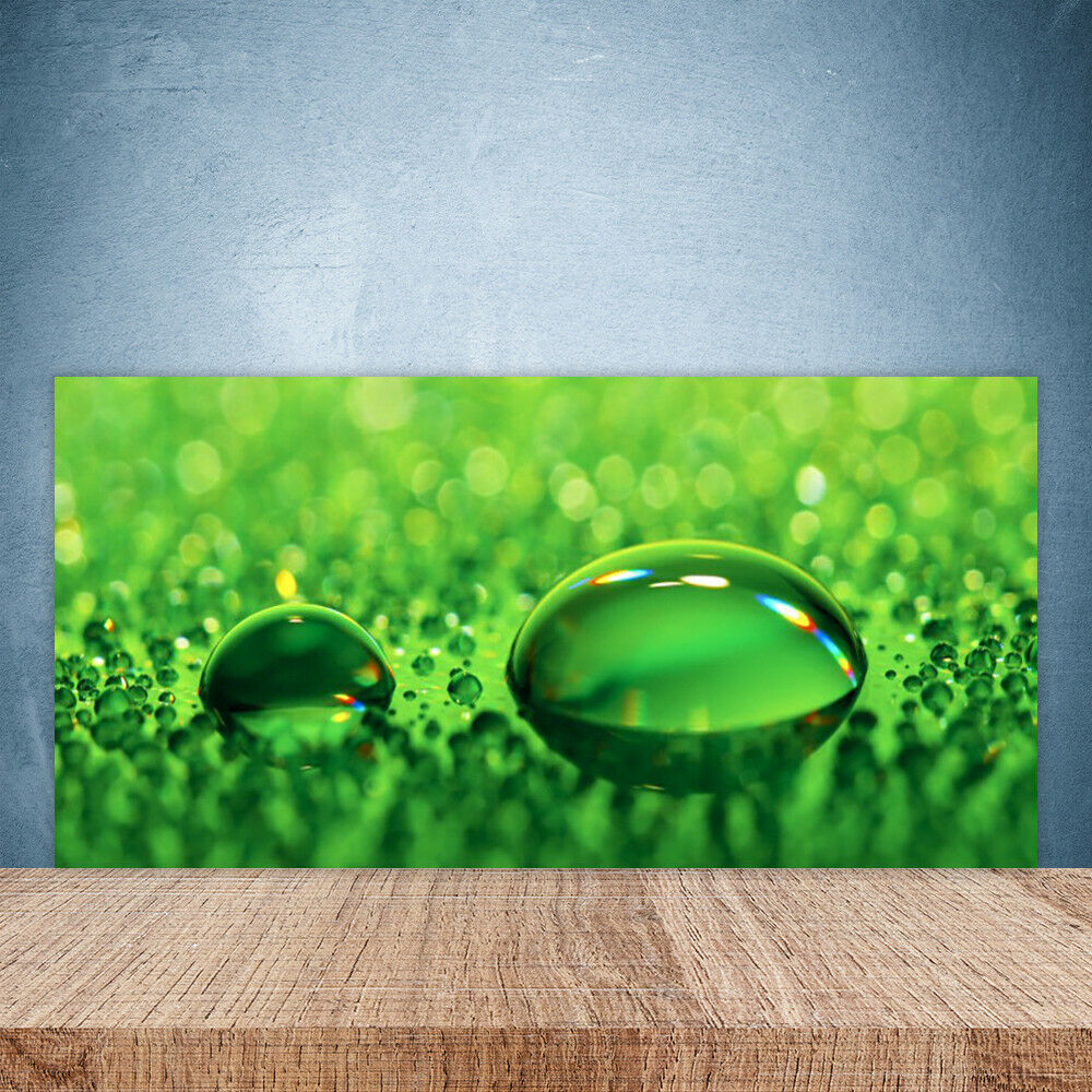 Cupboard kitchen glass wall panel art 100x50 water drops