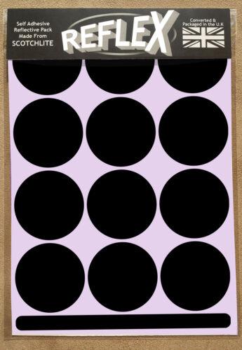 Nero Casco Moto 3M SCOTCHLITE Riflettente Reflex A5 Pacco di Adesivi Cerchi