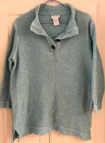 Soft Surroundings Women Sweater Medium Aqua Green