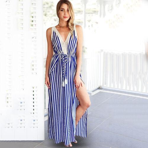 Damen Gestreift Maxikleider V-Ausschnitt Partykleid Sommerkleid Strandkleid 44