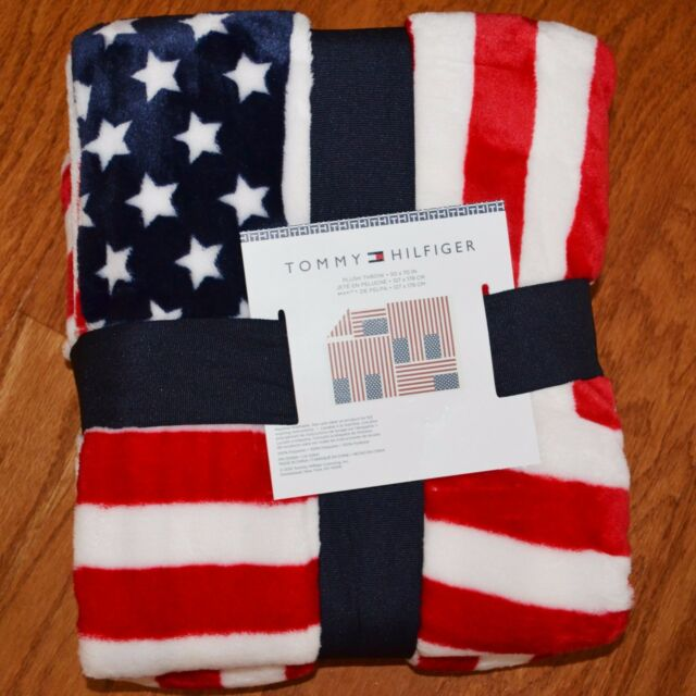 8eadae07 TOMMY HILFIGER Red White Blue FLAG Americana Patriotic Super Soft THROW  BLANKET