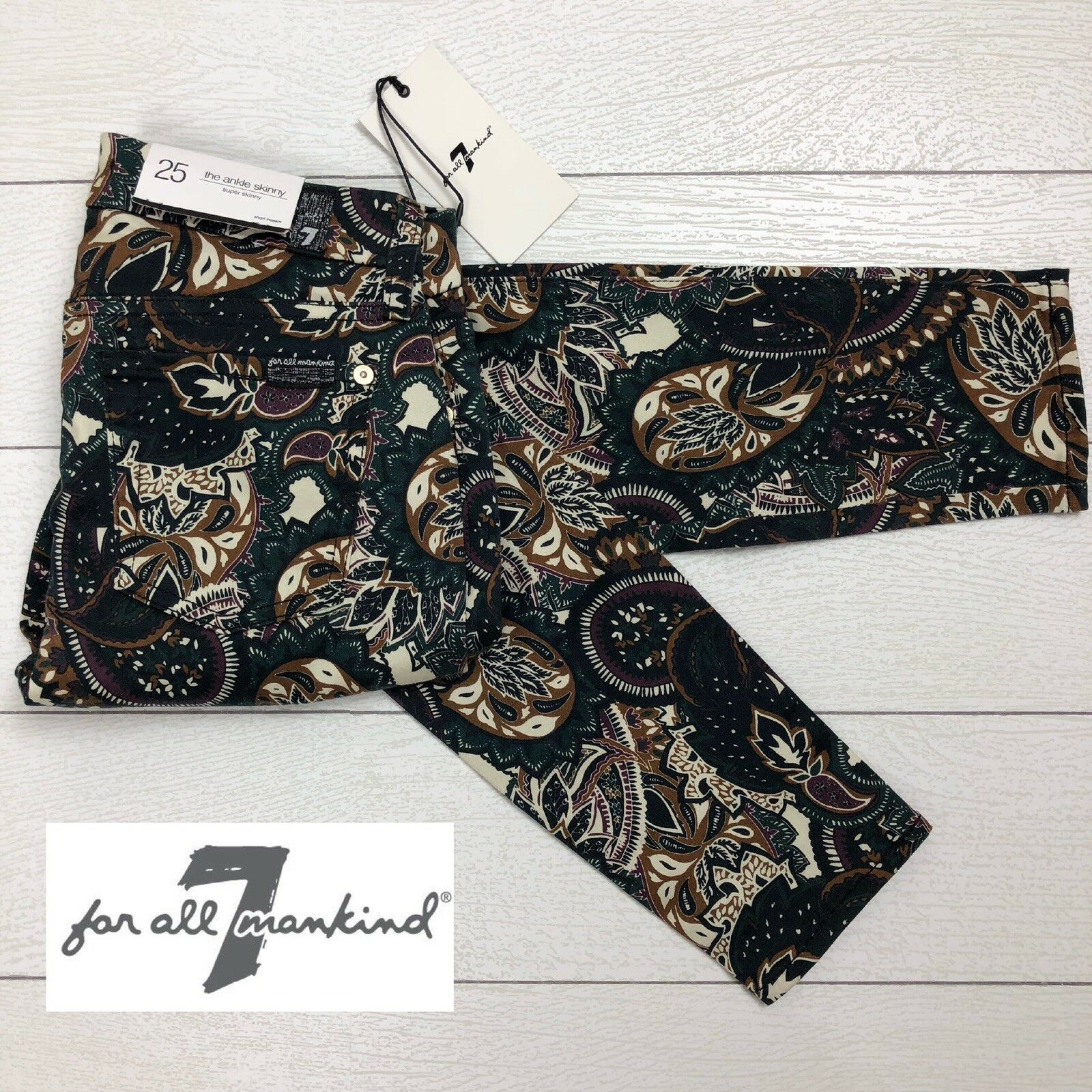 7 for all mankind Jen 7 in paisley-print ankle skinny jeans size 25 New