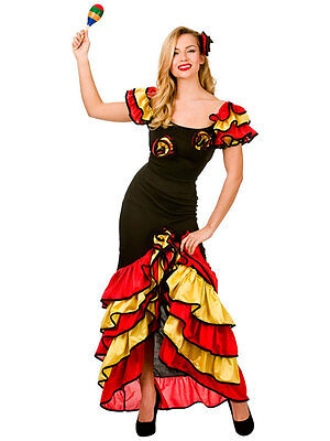 84421951b Spanish Senorita Rumba Salsa Flamenco Dancer Dance Ladies Fancy Dress  Costume | eBay