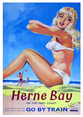 Vintage Railway travel advertising Poster reproduction. Herne Bay