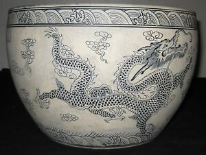 Chinese Porcelain 6 Dragons 5 Claws B W Fish Bowl Yongzheng Mark 19th C Nr Ebay