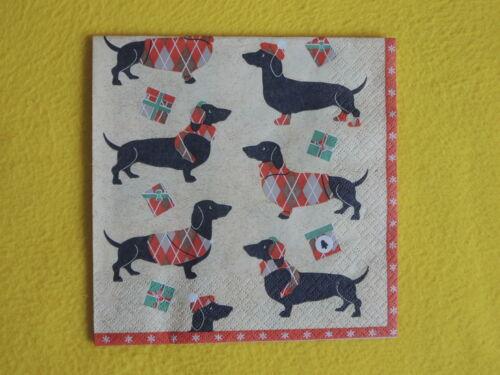5 Servietten Weihnachten DACKEL Kurzhaar Hunde Winter Serviettentechnik Tiere