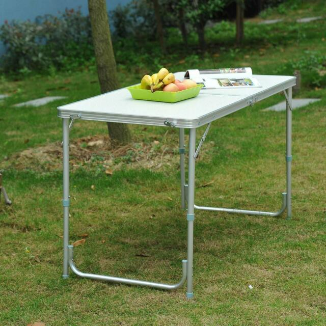4FT FOLDING CAMPING TABLE ALUMINIUM PICNIC PORTABLE ADJUSTABLE PARTY BBQ OUTDOOR