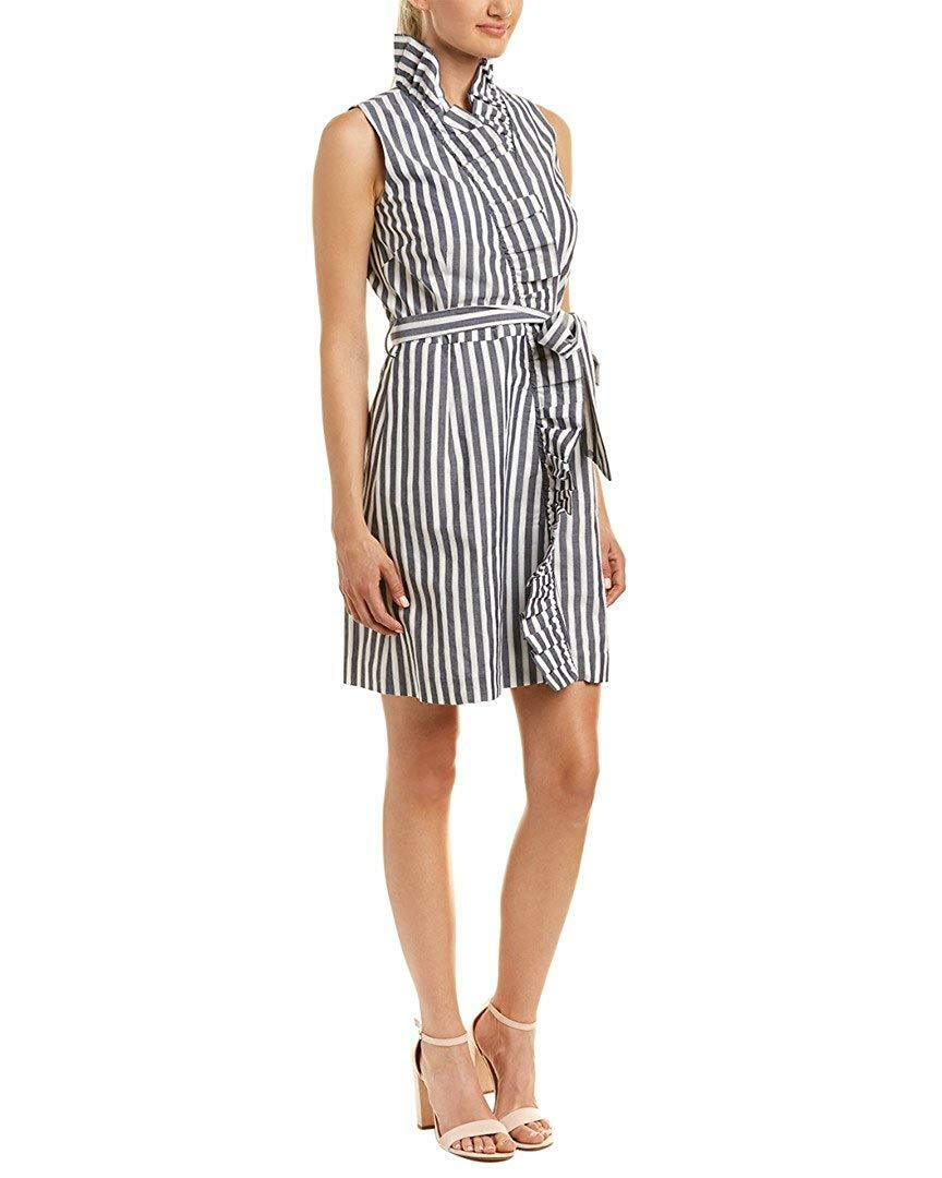 MILLY NEW  425 SZ 12 L STRIPES RUFFLE WRAP WRAP WRAP DRESS COTTON FROM JAPAN MADE IN US b01fff