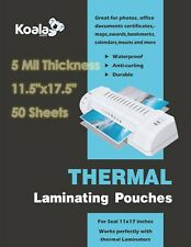 Koala Thermal Laminating Pouches 5 Mil 50 Sheets 115x175 For Seal 11x17 Letter