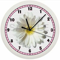 Pink And White Daisy Wall Clock Gift Wall Decor Art Yellow Flower Garden Gerber
