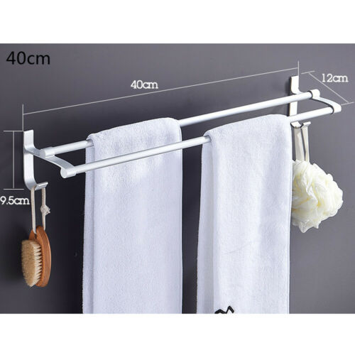 US 40//50//60cm Towel Rail Rack Holder Double Wall Mounted Bathroom Shelf Chrome