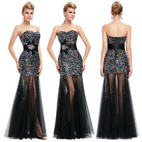 Black Long Maxi Bridesmaid Formal Prom Gowns Ball Evening Party Cocktail Dress 4