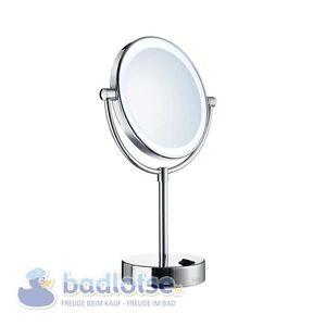 Smedbo outline stand kosmetik spiegel rund 5 fach beleuchtet led fk474e gl nzend ebay - Led spiegel rund ...