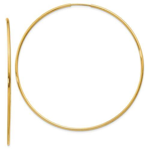 14k Yellow Gold Endless Hoop Earrings 60mm 1.25mm 2 3//8 Inch