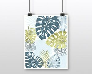 Wall Art Print Poster Blue Gold Tropical Leaves Palms Monstera Unframed Ebay It can be alarming to notice sudden dramatic leaf if you accidentally let your monstera's soil dry out completely, you may see leaves go limp, droop, and possibly your monstera is a tropical plant, so it will thrive in more humid environments. ebay