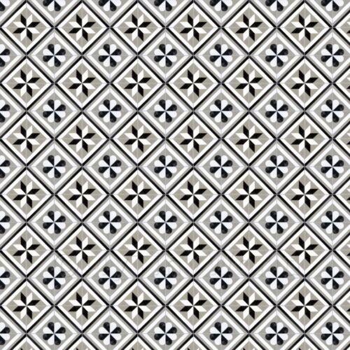 1:12th Negro y Gris Gris con diseño geométrico de baldosas de lechada