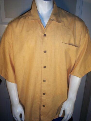 Tommy Bahama XXL Orange Linen Camp Shirt