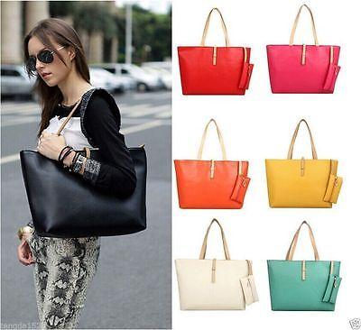 New Designer Large Womens Leather Style Tote Shoulder Handbag Ladies  P5