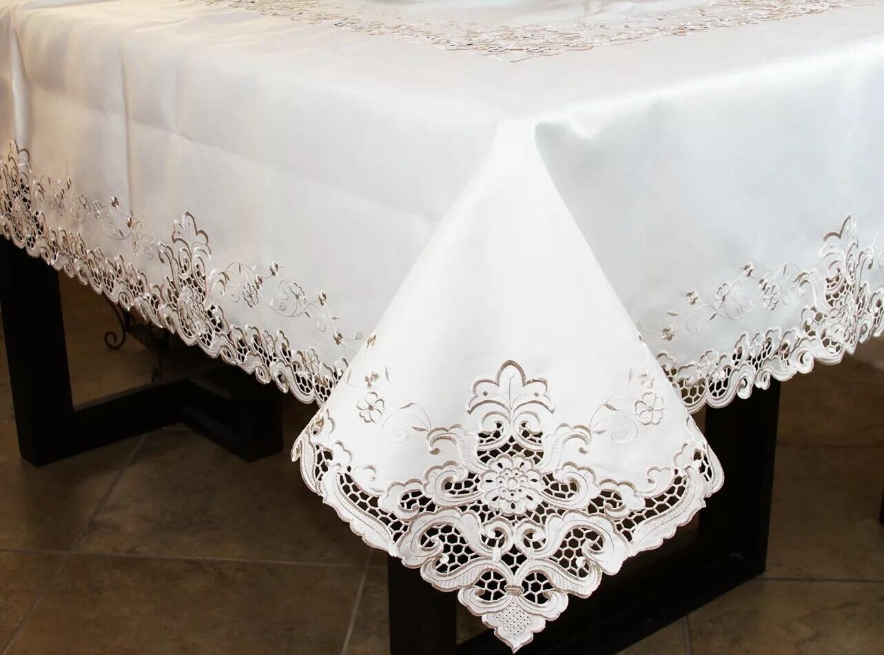Beige Ivory Fabric 72x72  Square Embroiderot Floral Embroidery Tablecloth Napkin