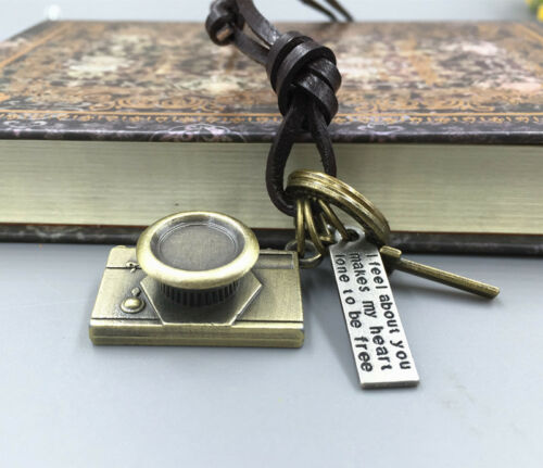 Men/'s Retro Gold Metal Camera Pendant Genuine Leather Surfer Choker Necklace