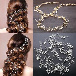 New 35cm Pearl Wedding Hair Vine Crystal Bridal Accessories Diamante Headbands
