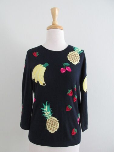 Talbots Size MP Navy Blue Fruit Banana Pineapple S
