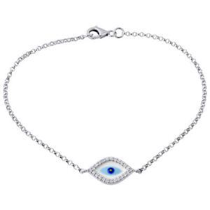 Image Is Loading Diamond Evil Eye Bracelet 7 Inch Las 14k