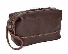Wash Leather Bag Vintage Brown Zip Top Toiletry Shaving Kit Cosmetic Travel Bag