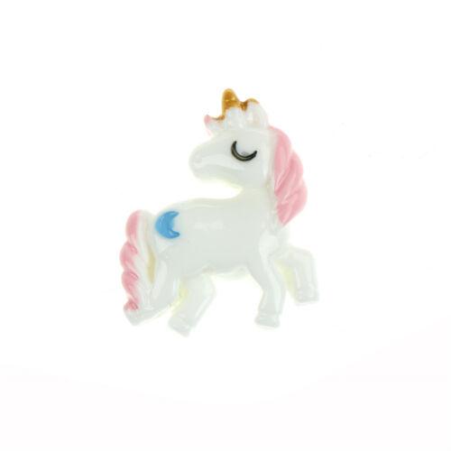 5x Lovely Unicorn Flat Back Resin Cabochon for DIY Phone Embellishment Decor HU